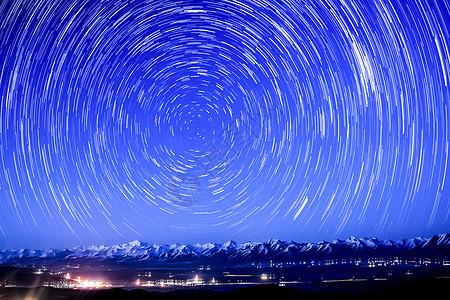 青海大坂山星轨图片