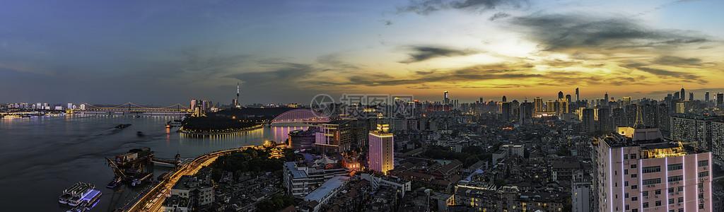 武汉长江大桥城市夜景全景图片