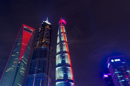 上海陆家嘴金融中心高楼夜景图片