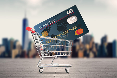 购物车里的信用卡图片