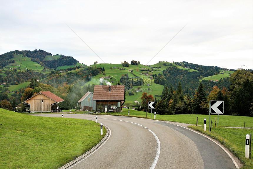 绿色原野上的公路图片