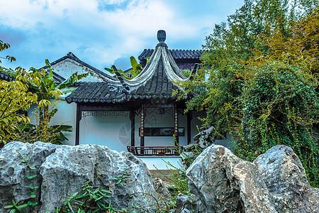 中国古建筑亭台背景图片