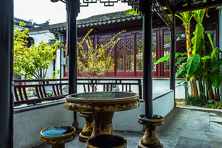 中国古建筑庭院茶几背景图片