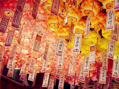 韩国济州岛寺庙里的许愿灯图片