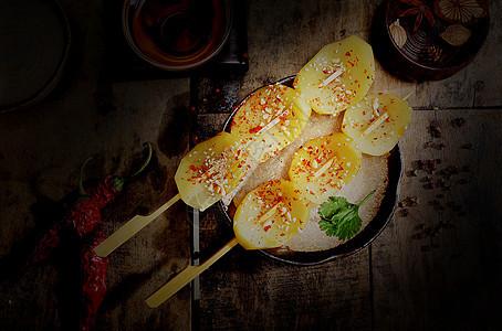 烧烤串串麻辣土豆片图片