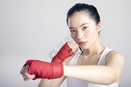 拳击运动健身女性特写图片