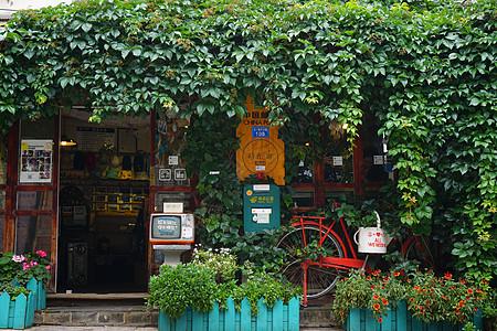 云南丽江古城爬满绿植的木屋图片