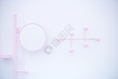 粉色浴室镜照片图片