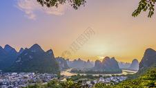 桂林阳朔小河背日落美景图片