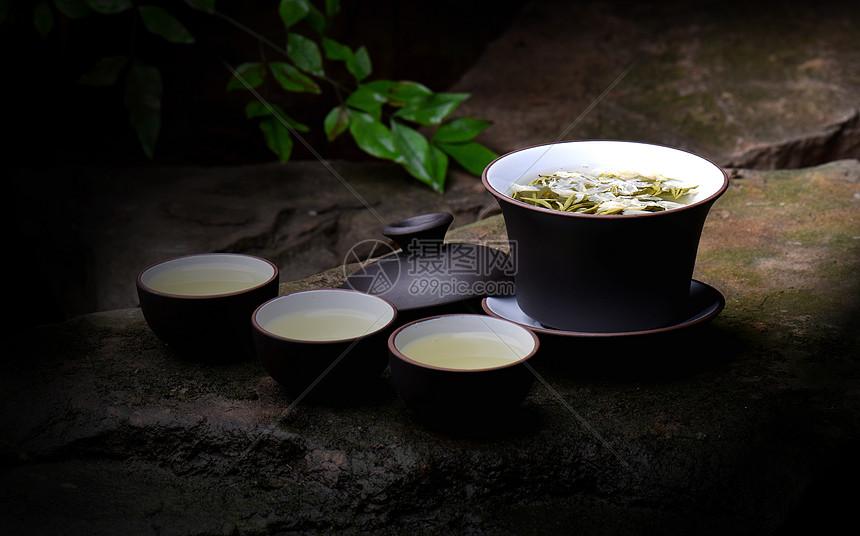 盖碗茶花茶绿茶茶具茶杯图片
