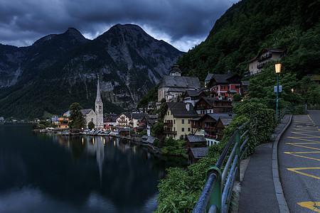 欧洲奥地利旅游小镇哈尔施塔特的清晨图片