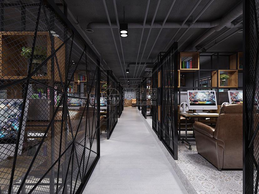 网吧效果图网咖网咖效果图网吧电脑工业风效果图工装工装效果图工业