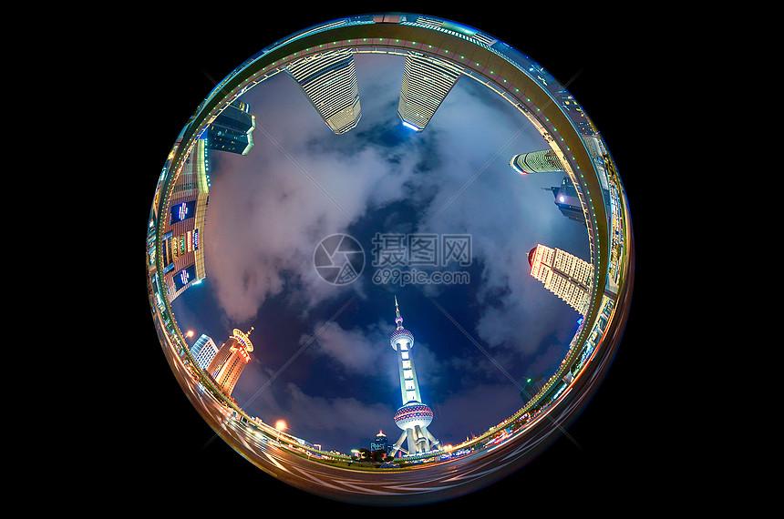 上海陆家嘴夜景全景球形图图片