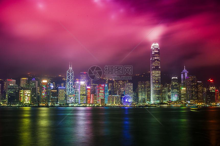 香港维多利亚港夜景图片