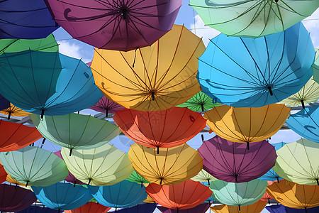 挂在半空中颠倒的伞图片