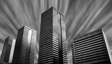 现代城市黑白建筑图片