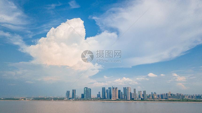 航拍杭州滨江区金融商业区图片