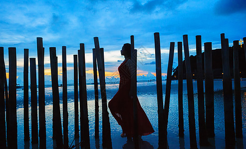 菲律宾长滩岛女性剪影图片