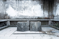 中国古代对称石头井背景图片