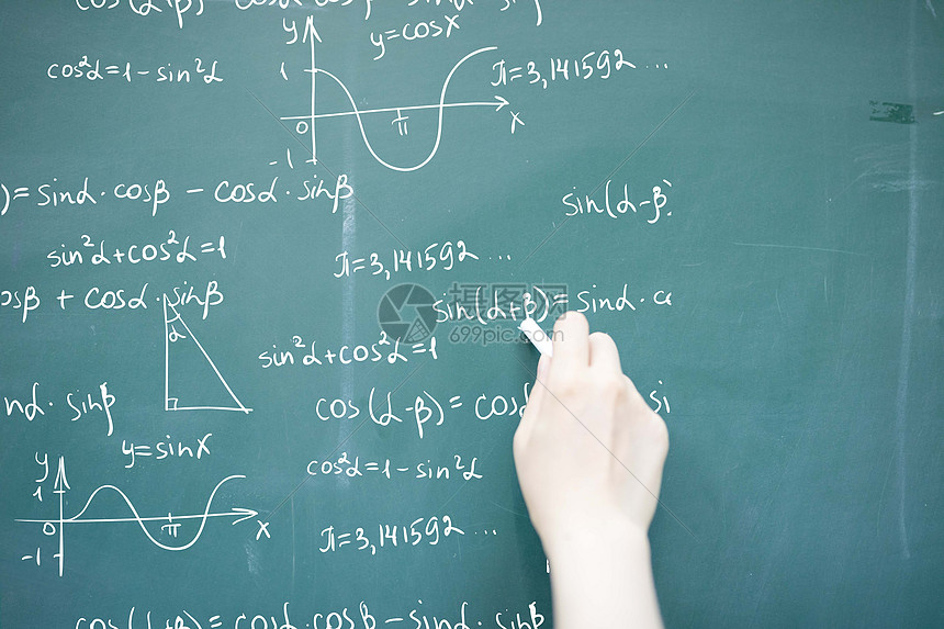 黑板上写下知识的手图片