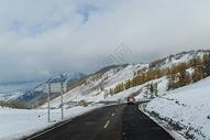 新疆雪山下的公路图片