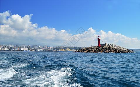 韩国济州岛大海灯塔图片
