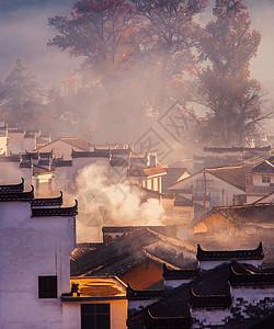 秋天晨雾中的山村 婺源石城晨雾景观 图片