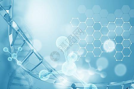 蓝色dna分子图片