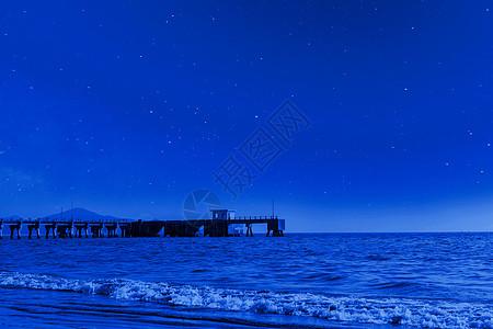 星空下的海边景色图片