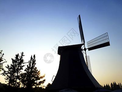夕阳下的风车图片