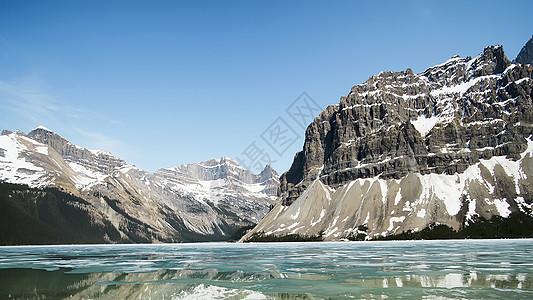 雪山河流图片