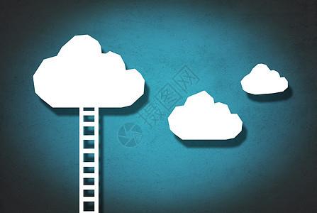 云梯上的云朵图片