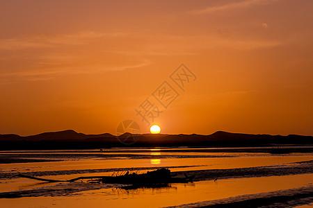 新疆塔克拉玛干沙漠落日图片