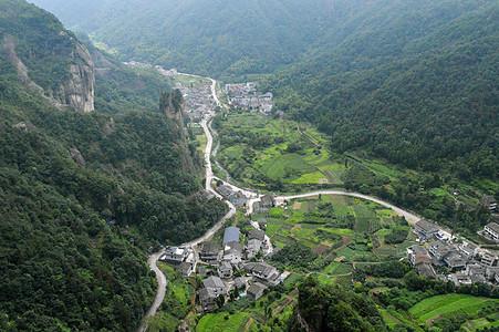 航拍俯视雁荡山乡村图片