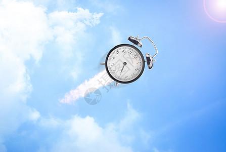 飞向天空的闹钟图片
