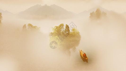 充满意境的小东江雾气图片