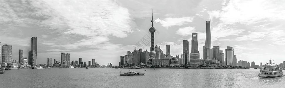 上海陆家嘴东方明珠金融中心全景图背景图片