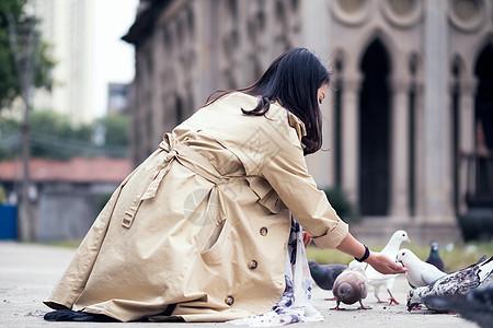 武汉古德寺喂鸽子的少女图片