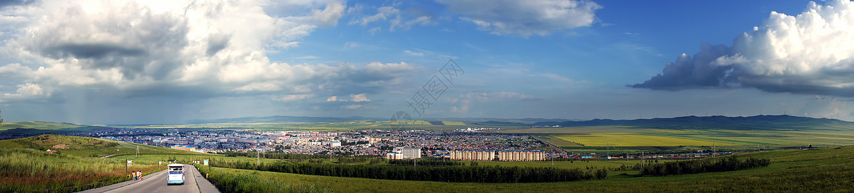额尔古纳城全景图图片