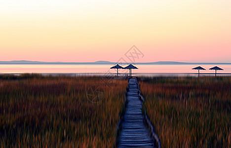 达里诺尔湖晚霞图片