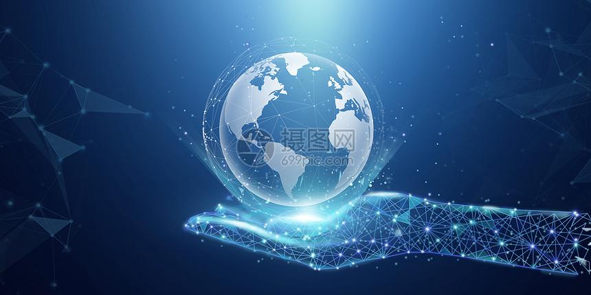 科技感手中地球图片