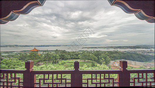 中国风古楼眺望美景图片