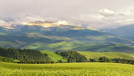 新疆特克斯草原雪山图片