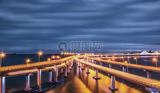 大连跨海大桥夜景全景图片
