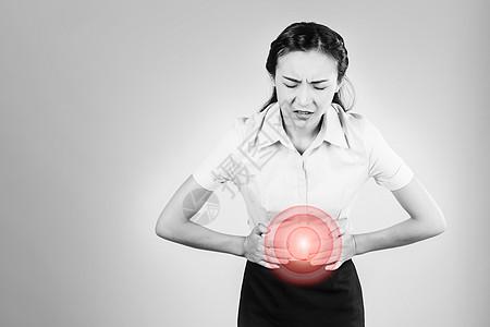 办公室职业女性肚子痛图片