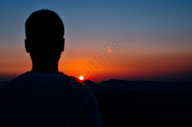 旅行日落剪影素材图片