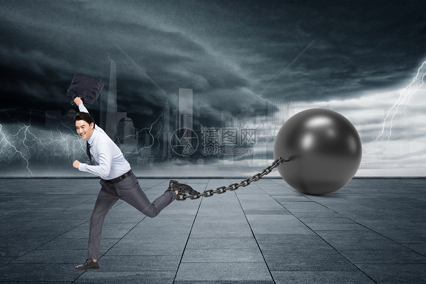 阻碍脚步的铁球图片