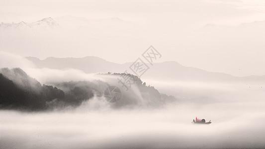水墨中国风的山水田园风光图片