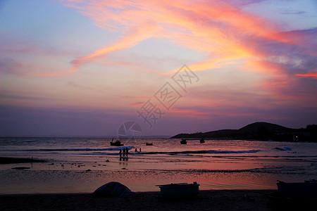越难美奈海边的晚霞图片
