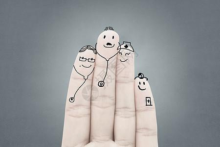 手指上的医疗团队图片